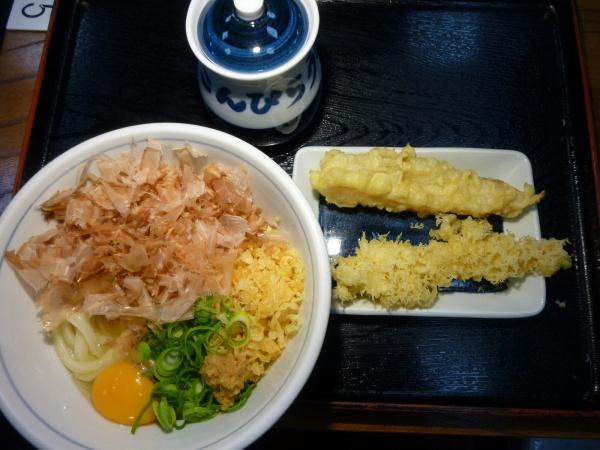 しょうゆ玉うどん天ぷらセットその2